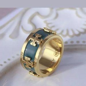 Tory Burch Green/Gold Logo Ring Size 6